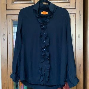 Joe Fresh Black Ruffle Button Down Silk Shirt Sz L